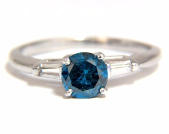 1.02CT Metallic Blue Diamond Ring 14KT