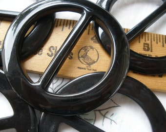 "Basic Black Round Plastic Buckle Scarf Slide 1.5"" opening crafts sewing t-shirt slide novelty retro ribbon embellishment plain 2.25"""