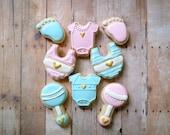 Baby Cookies - Rattle Bib Footprint One Piece Decorated Cookies (1 Dozen)