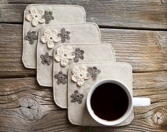 Natural Coasters with Crochet Flowers, a set of 4, Linen and Cotton, Nature Inspired Home Decor