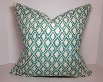 El Toro Aquamarine Pillow Cover in Fabric by Nate Berkus