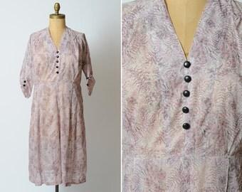 1950s dress/ 50s sheer rayon dress/ large