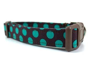 Modern Dot in Emerald Dog Collar / Polka Dot Dog Collar / Made to Order