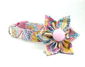 Girl Dog Collar and Flower Set | Pastel Paisley Dog Collar and Removable Flower Set | Paisley Dog Collar | Female Dog Collar