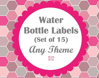 Water Bottle Labels - Any theme in my shop- Set of 15 Waterproof Labels