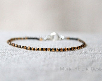 sand black bracelet for men - very small bead bracelet with black gems and antique beads - from Maria-Helena Design