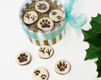 Ceramic Refrigerator Magnet, Paw Print Magnets, Dog Cat Pottery Hostess Teacher Gift Under 20, Wildlife Animal Lover Gift, Office Supply
