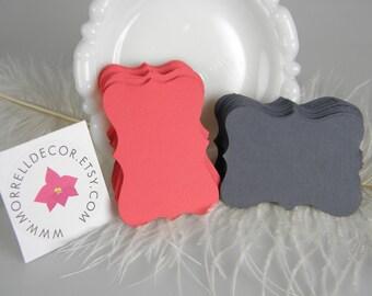 Gift tags / 100 Tags / Dark Coral and Dark Grey / Medium Size Bracket Card / Escort Cards / Coral Grey Wedding Tags Escort cards / DIY Blank