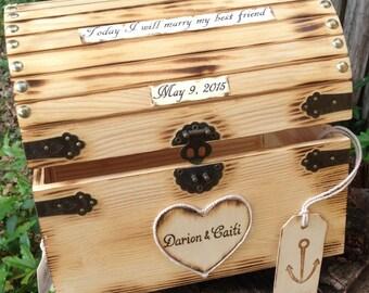 Large Custom Detailed Rustic Wooden Card Box Beach Nautical Wedding