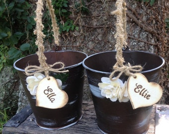 Set of Two Flower Girl  Distressed Personalized Tin Buckets Rustic Woodland Outdoor Country Chic Wedding