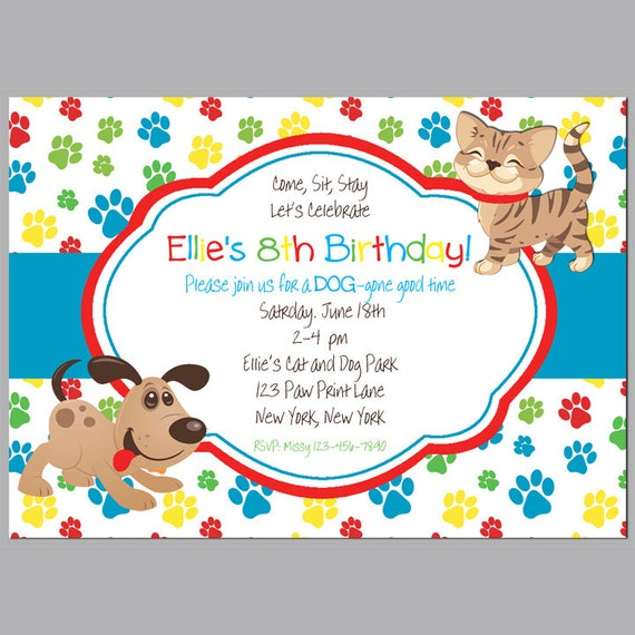 Cat And Puppy Dog Invitation Printable Or Printed With FREE