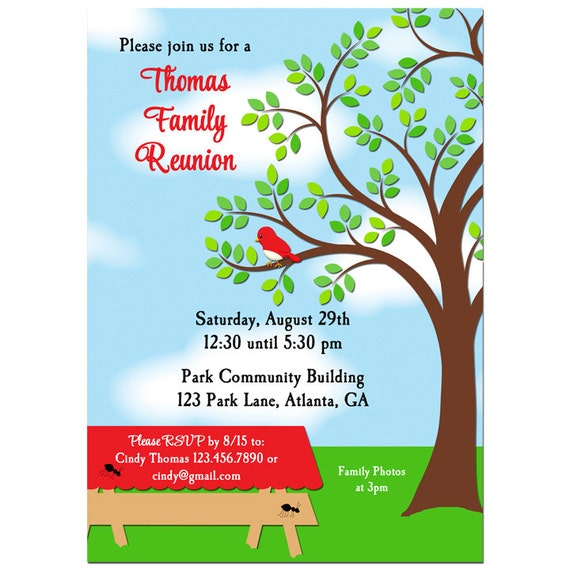 Family Reunion Picnic BBQ Park Invitation Printable or – Family Reunion Invitation