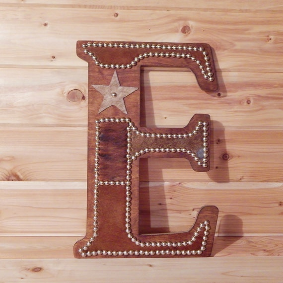 Cowhide Wall Letter E Western Home Decor Wall By LizzyandMe