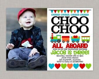 Valentine Birthday Party Invitation, Train Birthday Invitation, Printable