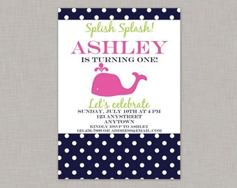 Whale Invitation, Whale Birthday Invitation, Girl, Whale Birthday
