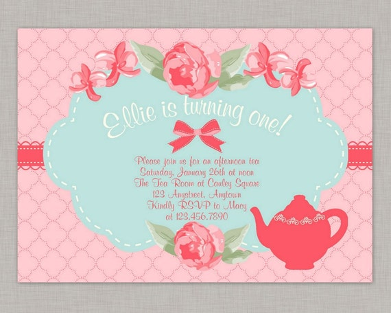 Shabby chic invitation tea party invitation birthday invitation by il570xn filmwisefo