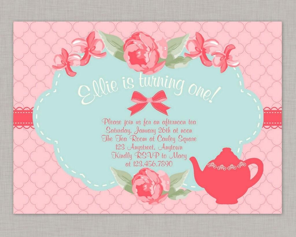 Shabby Chic Invitation Tea Party Invitation Birthday