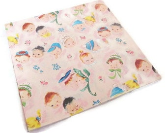 Vintage Wrapping Paper - Bonnet New Baby - Full Sheet Gift Wrap - Dennison