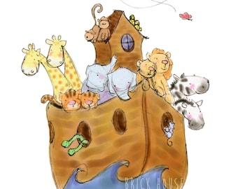 Noah's Ark 8x10 - Children's Art, Nursery Art