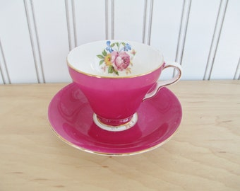 Vintage Taylor Kent China Teacup and Saucer Set Pink with Flowers
