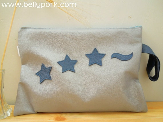 Leather clutch, leather handbag, stars bag, stars purse, stars clutch, silver leather, silver bag,stars leather bag,stars pouch,silver purse