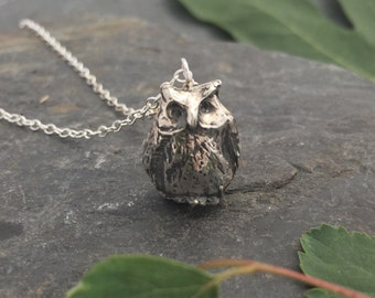Owl Necklace sterling silver 'Frank'
