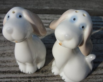 Pastel Porcelain Puppy pepper and salt shakers