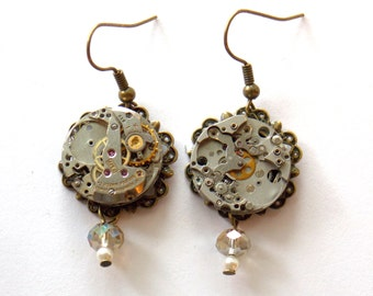 "Steampunk Earrings ""Inner Workings"""