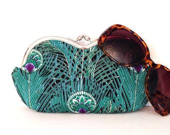 Peacock sunglasses case, large sunglass case, eyeglass case, sunglass holder, small clutch, coin purse, case for sunglasses