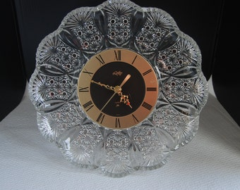 CK0254 Vintage Hoya Lofty Crystal Glass Wall Clock Very Rare....