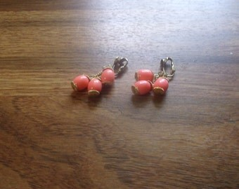 vintage clip on earrings apricot bead dangles