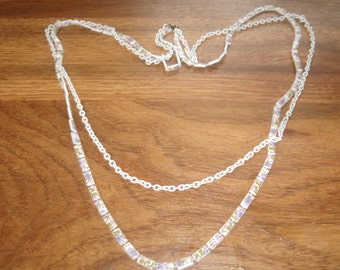 vintage necklace double strand painted lucite white chain