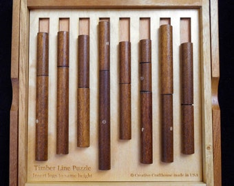 Timber Line Wood Brain Teaser Puzzle – Insert the logs such that all trunks are the same height