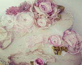 Vintage Rose Maternity Sash SET .. Newborn Photography Mothers Headband Newborn Tieback Shabby Chic Wedding Sash Bridesmaid Flower Girl Sash