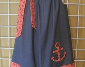 Anchor Dress, Nautical Pillowcase Dress, Sailor Dress, Red, Navy Blue and Coral, Summer Dress, Size 2T to 14