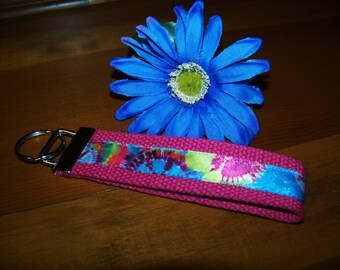 Wristlet Key Fob Key Chain - Hot Pink with Blue, Pink, Yellow and Purple Tie Dye