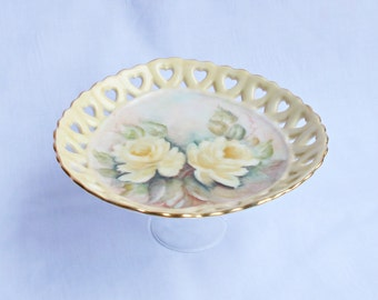 SALE Sage Cake Stand Cupcake Pedestal Jewelry Upcycled Vintage Yellow Roses Heart Hand Painted Kitchen Hostess Gift Domum Vindemia