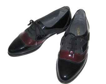 Black Patent Burgundy Patent Black Leather Shoes Mens Two Tone Shoes Black and Maroon Shoes Leather Oxfords Patent Leather Lace Up Shoes