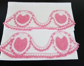 Pair 1940s Pillowcases Pink Crochet Hearts Lace 251a