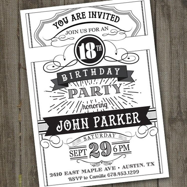 Vintage Retro Birthday Invitation PRINTABLE By Partymonkey