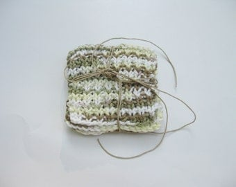 Knit coasters moss green ivory brown cotton