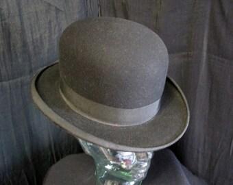 Vintage Ceres 6 7/8 Bowler Derby HAT Black Wool Felt