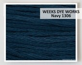 Weeks Dye Works 6- strand embroidery floss : Navy 1306 WDW hand over dyed overdyed thread cross stitch needlepoint