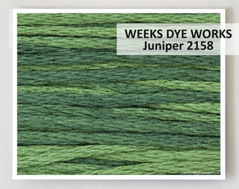 JUNIPER 2158 Weeks Dye Works 6- strand embroidery floss : WDW hand over dyed overdyed thread cross stitch needlepoint