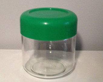 Kelly Green HELLER Glass Jar Plastic Lid Mod 1970s Storage