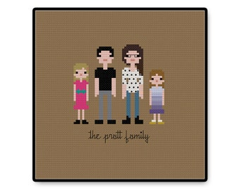 Custom Pixel Family Cross stitch PDF Pattern