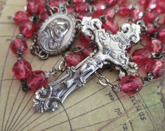 large sterling silver rosary- crystals, pink, wine
