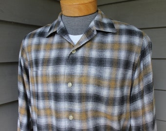 vintage 1950's -Town 'n' Trail- Men's long sleeve 'Chevella' style shirt.  Tri-color shadow fade plaid - Rayon or blend. Medium