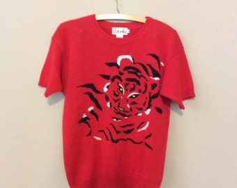 Red and black 80s tiger short sleeve sweater