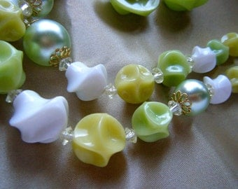 Lime and White  Lucite Necklace and Earring Set //Mid Century Jewelry Signed Germany